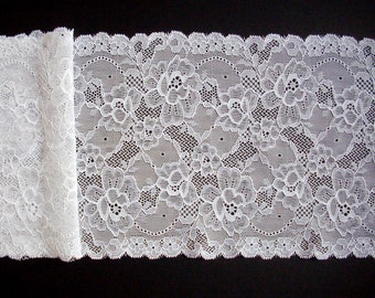 Wedding lace, white lace trim, stretch floral lace, table runner lace, scalloped edge, elastic lace trim, 16 cm, 6 1/2'', by the half metre