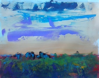 ROCKY BLUE FRIDAY, Mixed Media Landscape Painting, Original Art, Wall Art Decor for Home or Office, Framed and Matted