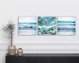 Ocean waves photo 3 square print set. Natural, beach photo triptych. Scandinavian, minimal, modern, multi pack set of three 10x10/50cmx50cm