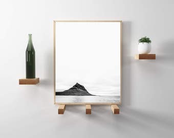 Kirkjufell, Iceland Travel Photography. Black and white, wanderlust photo print. Modern, minimalist, scandinavian art. Instant Download.