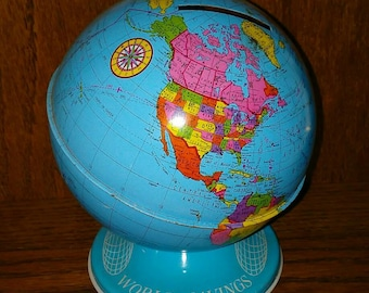 Vintage Ohio Arts Tin Globe World Bank