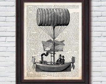 Flying Machine Dictionary, Aircraft Print, Flying Machine Decor, Aviation Wall Art, Dictionary Art Print - DI007