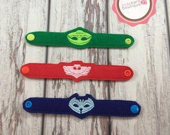 PJ mask Bracelets, Felt Bracelets, Bedtime hero bracelets, party favors