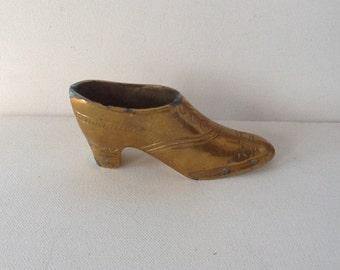 Vintage Brass Shoe / Fancy Brass Victorian Shoe