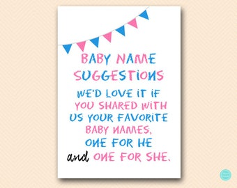 Baby Name Suggestion Sign, Gender Reveal Sign, Boy or Girl Baby Shower Activities, Chalkboard Gender Reveal Party SN29