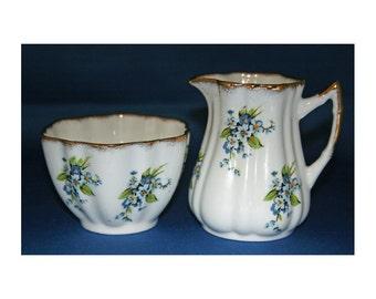Vintage Elizabethan Fine Bone China Floral Blue Creamer & Open Sugar Bowl made in England