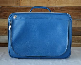 "Vintage bleu Flite Line suitcase - 60s suitcase - Retro Luggage -  21""x15""x6.4"""