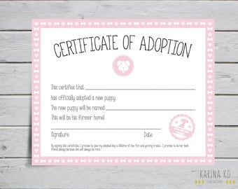 8x10 Certificate Of Puppy Adoption - Girl