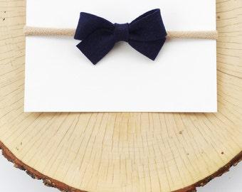 Navy, Finley Bow : Baby Bow Headband, Felt Bow Headband, Baby Headbands, Baby Girl Bows, Nylon Headband