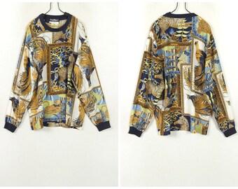 80's Vintage Salvatore Ferragamo 100%silk pullover shirt,T-shirt