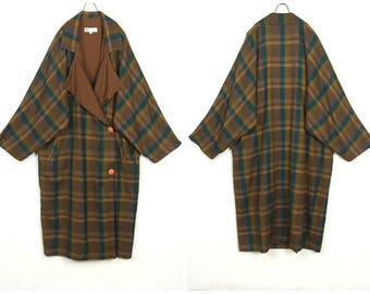 Amazing!80's vintage Dolman sleeve long art wool coat