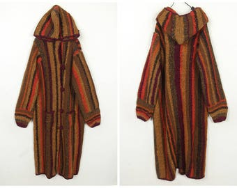80's Vintage /Rainbow /Stripe /handmade/long wool sweater coat