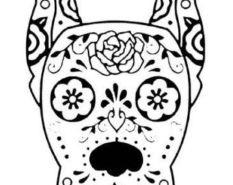 Great Dane Sugar Skull Vinyl Decal Car Sticker Pet Dog