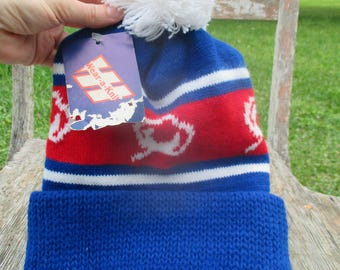 vintage pom pom beanie ski cap with original tag, made in usa, red white blue, vintage mens ski cap, 70's ski cap, retro menswear, ski hat