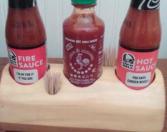 Hot sauce, hotsauce, Log hot sauce holder, salt and pepper, toothpick holder, kitchen organizer, log condiment organizer, table organizer