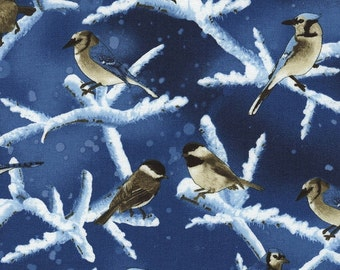 Christmas fabric, Holiday, blue jays and chickadees on a blue background, by Timeless Treasures, C3327