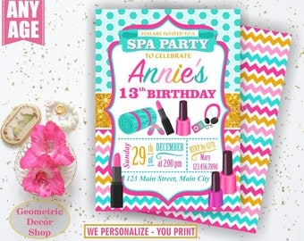 Spa Birthday Invitation / Sleepover / Girl Invitations / Invite / Slumber Party / Invites / Photo Photograph Gold Aqua Pink Teal BDSpa1