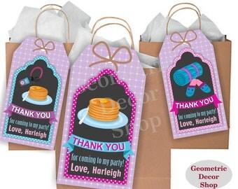 Thank you cards Pancake Sleepover Favor tags gift Decoration birthday printable Purple Pink Teal Birthday tag Sleep Pajamas PJ's FTSO1