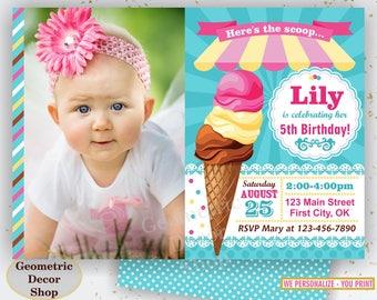 Ice cream Birthday Invitation, Sweet Birthday Invite, Summer Invites, Girl, Ice cream cone, Scoop, Pink Teal Yellow, Photo, Photograph BDIC1