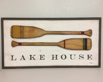 "Lake House, 48"" x 24"" handpainted wood sign"