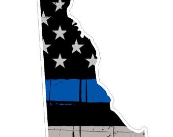 Delaware State (V10) Thin Blue Line Vinyl Decal Sticker Car/Truck Laptop/Netbook Window