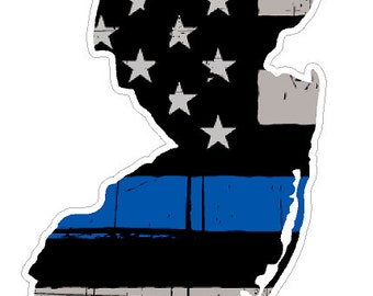New Jersey State (V31) Thin Blue Line Vinyl Decal Sticker Car/Truck Laptop/Netbook Window