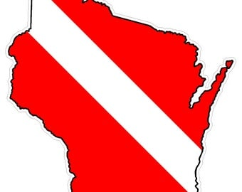 Wisconsin State (B49) Diver Down Flag Yeti Tumbler Decal Sticker Laptop
