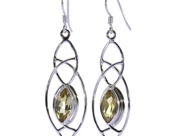 Lemon Quartz Earrings, 925 Sterling Silver, Unique only 1 piece available! color yellow, weight 5.1g, #31302
