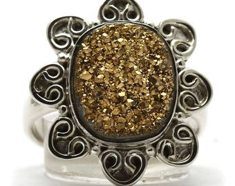 Drusy Ring, 925 Sterling Silver, Unique only 1 piece available! SIZE 5.50 (inner diameter 16mm), color yellow, weight 4.3g, #30616