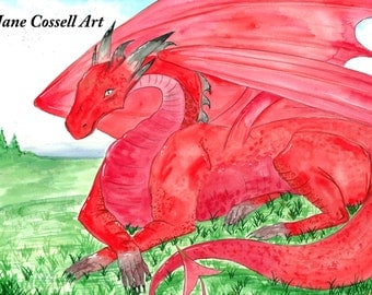 Limited edition -A4 print - The Welsh Dragon - Y Draig Goch - All money goes to charity - The Red Dragon - Welsh Flag - watercolour painting