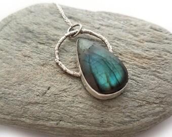 Woodland Labradorite Raindrop Necklace - Twig Nature Boho Crystal