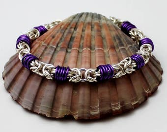 Silver Plated Chainmaille Bracelet, Purple Bracelet, Silver Bracelet, Byzantine Bracelet, Chain Mail Bracelet, Chainmail Bracelet