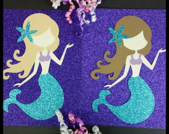 1 (11inch) Glitter Mermaid Theme Die Cut