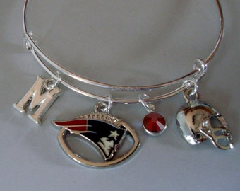 NFL Patriots CHARM / Helmet  Bangle W/ Birthstone / Initial Football Charm Bangle / Bracelet - Patriots Bracelet - Gift For Her  Usa  Sp1