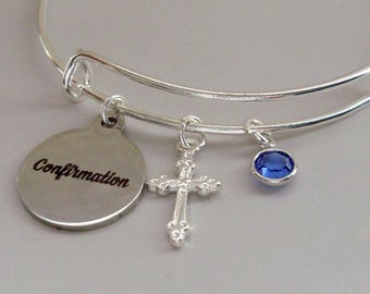 CONFIRMATION BANGLE W/ Silver Cross  Adjustable Bangle W/ Swarovski Birthstone Crystal Drop - Religious Charm -  Gift For Her  FC1