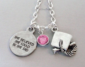 She Believed She Could  Graduation Charm Necklace W/ Swarovski Birthstone  -  Graduation / Birthday Gift  For Her / Under 25  Usa  NK1