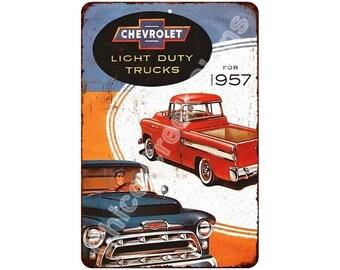 1957 Chevrolet Light Duty Trucks Vintage Reproduction 8x12 Metal Sign 8120958