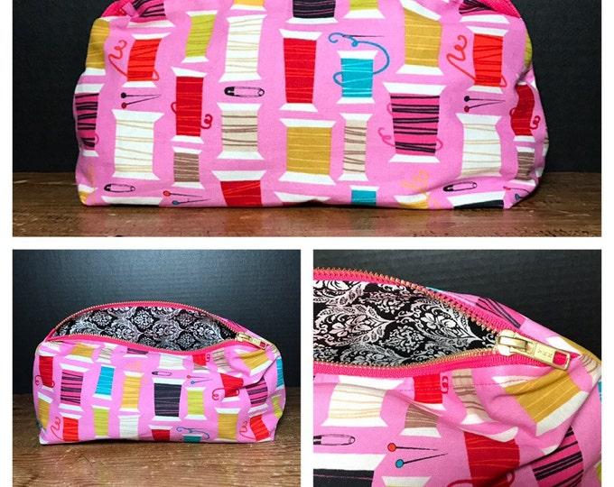 Colorful Thread Spools  | sewing motif | make-up bag, fun bag, money bag, cosmetic bag, everything bag. Plum & Khloe Designs, pouch