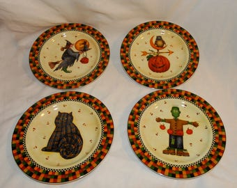 halloween salad plates dishes witch cat frankenstein debbie mumm ceramic - Halloween Plates Ceramic