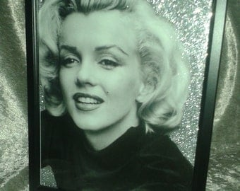 Marilyn Monroe Silver Glitter Canvas A4 size in a Black orWhite  Frame