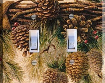 Pine Cone Light Switch Plate Cover Decor Bedroom Living Room Print