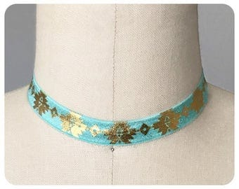 Turquoise and Gold Stretch Ribbon Choker