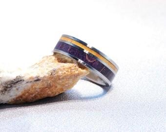 Purple Maple and Osage Orange inlay Titanium Ring, Double wood inlay ring, Dyed wood inlay ring, dyed wood ring, custom made ring, exotic