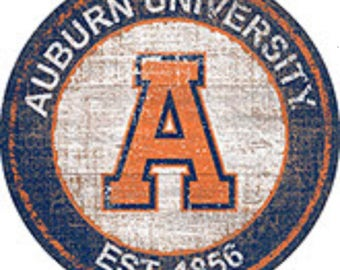 """NCAA Auburn Tigers Round Distressed Historic Established Wood Sign 24"""" In Diameter"""