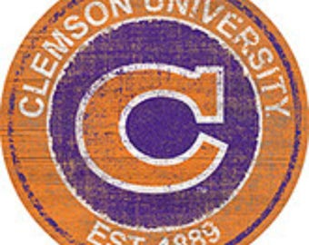 """NCAA Clemson Round Distressed Historic Established Wood Sign 24"""" In Diameter"""