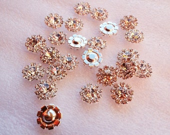 12MM metal rhinestone buttons wedding invitation card embellishment hair flower center scrapbook sewing accessories