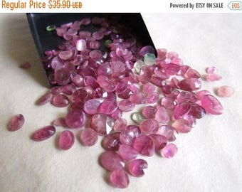 ON SALE 50% 7 Pcs Pink Tourmaline, Rose Cut Cabochon, Pink Tourmaline Flat Cabochons, Rose Cut Gemstone, Faceted Cabochon 5mm To 9mm, SKU-Rs