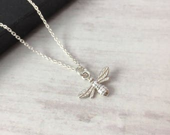 Sterling Silver Bee Necklace/Hanging Bee/Nature/Bee Charm/Delicate/Everyday Wear/Layered/Gift/UK