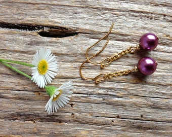 Soft Plum Glass Pearl Drop Earrings