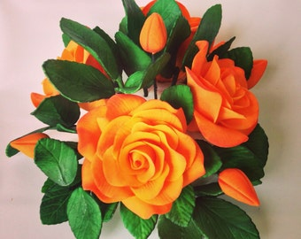 Sugar Flower Cake Topper Arrangement- Orange and Yellow Gumpaste Roses for wedding cakes, engagement cakes, birthday cakes, sugar flowerso